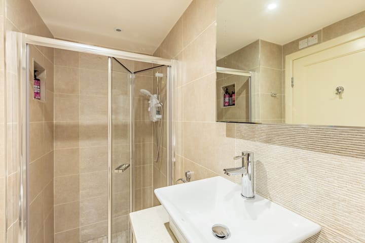 Walk in shower. All bathroom essentials supplied. For the ultimate in understated luxury,  the apartment offers a touch of sheer glamour you simply won't find anywhere else.