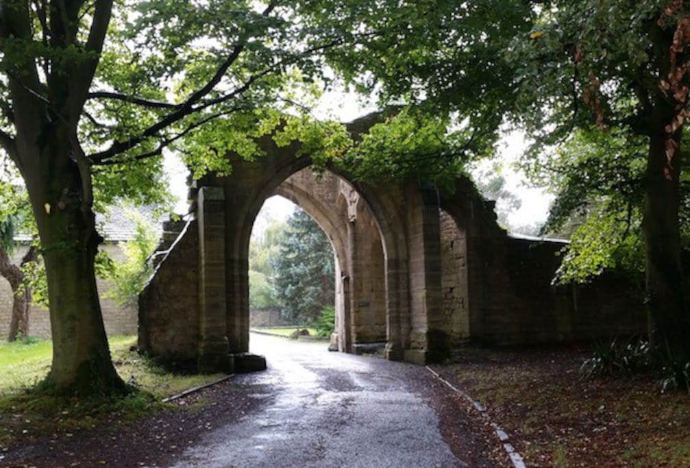 The medieval arched entrance to our complex
