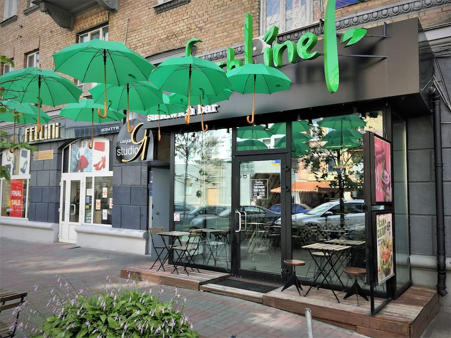 Quiet but central neighborhood with nice restaurants around. We have  19 restaurants and cafes within 1-5 min walk! This is perfect location fir business and travel