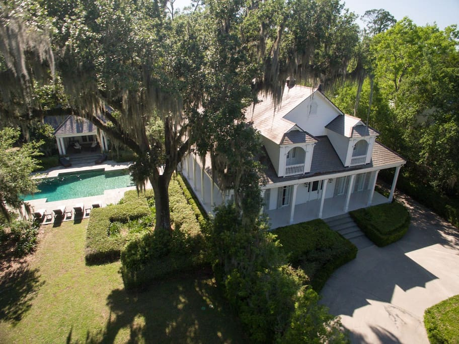 Aerial view of main house and property