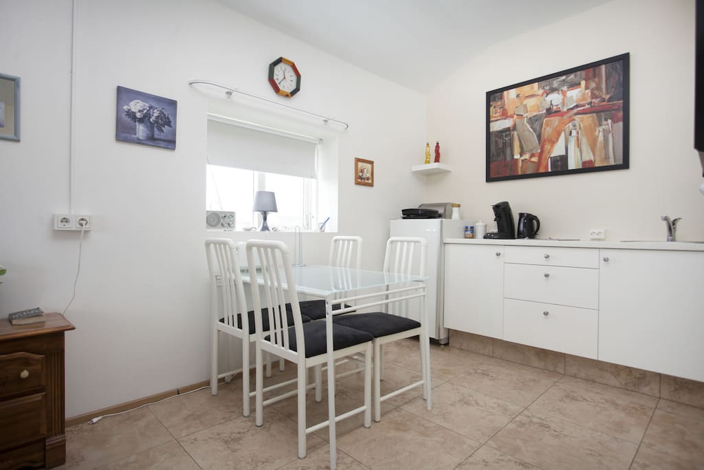 The kitchenette is private for your studio