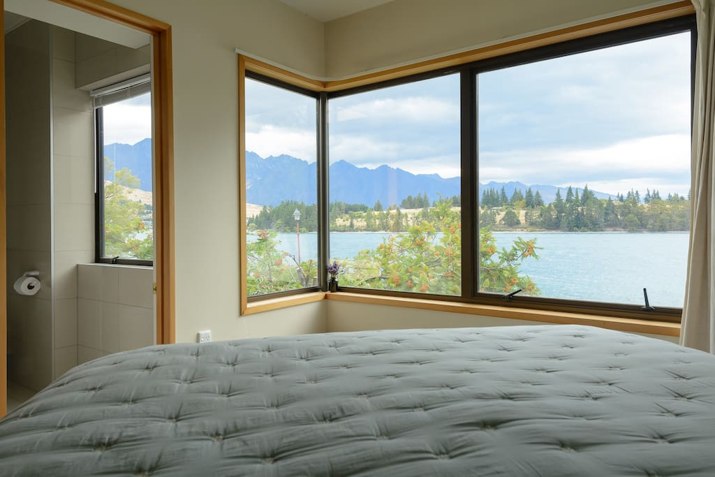 Lake front bedroom with ensuite to the left.