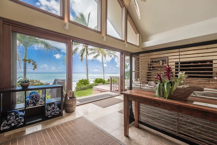 Aloha Beachfront Bliss- Luxury home w/ AC, Hot Tub