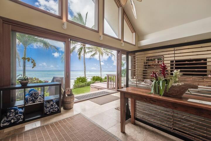 Aloha Beachfront Bliss- Luxury home w/ AC, Hot Tub