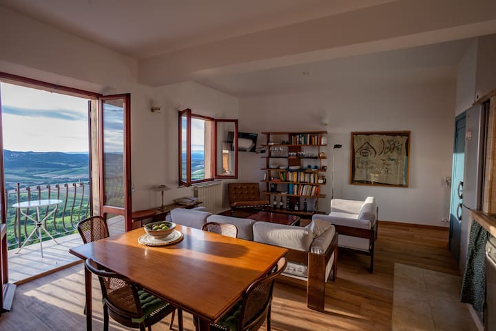 Living room with terrazza and kitchen