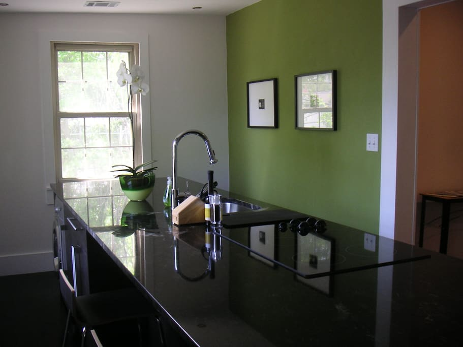 Kitchen island has countertop seating and integrated appliances