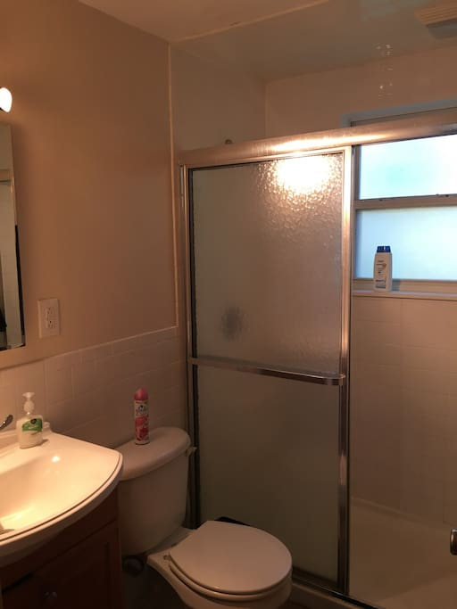 The bathroom with a stand up shower