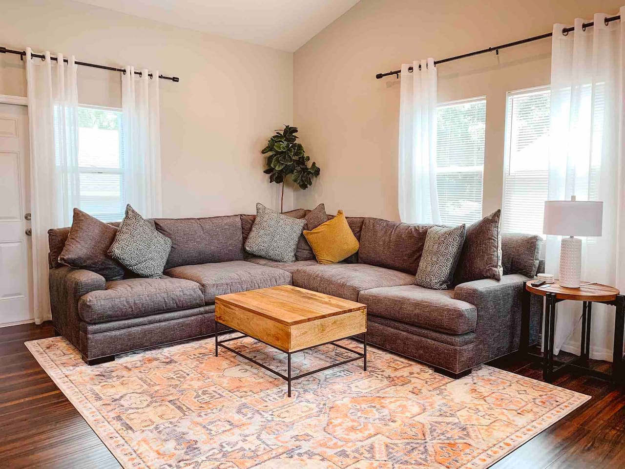 Living room with Uber-comfortable sectional couch is perfect for relaxing.