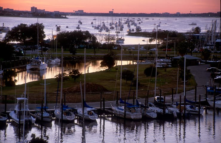 Marina and view of Clear Lake from the Seabrook bridge