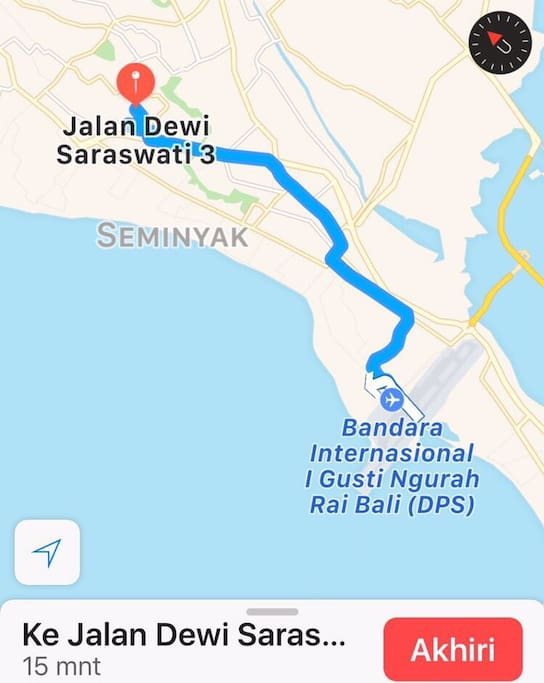 Map from airport to villa