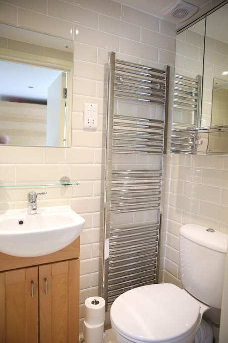 Spacious ensuite with heated towel rail