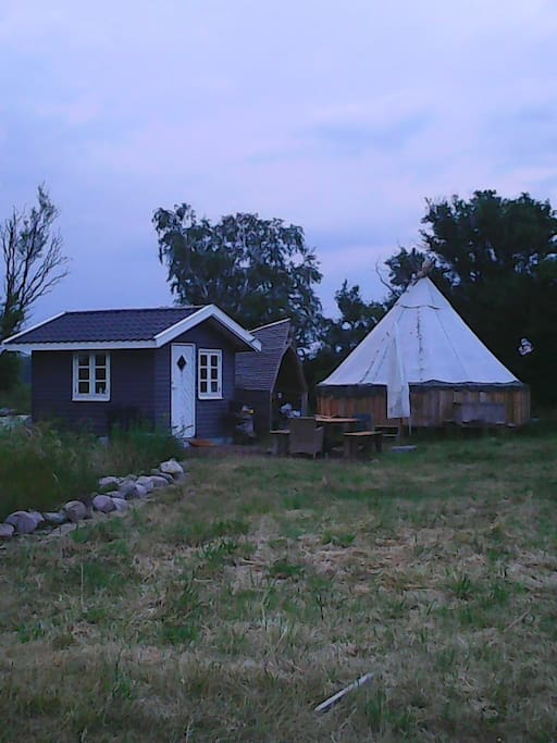 camping in tipi or tent in organic garden tipi in
