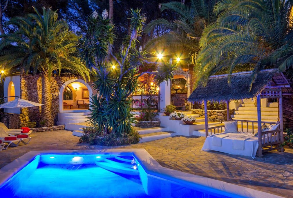 Pool Area and Bar at Night