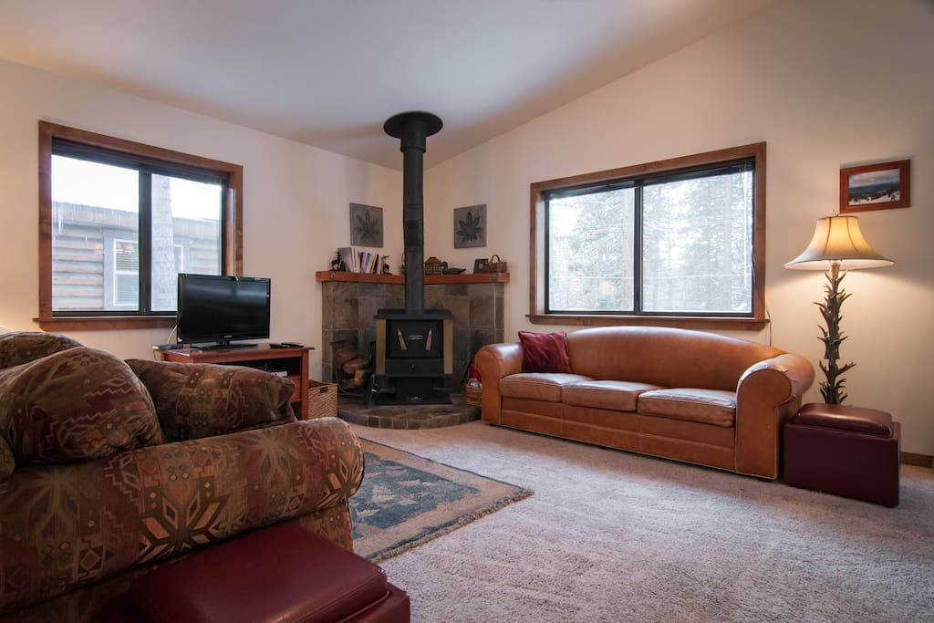 Open Living Area with Woodstove