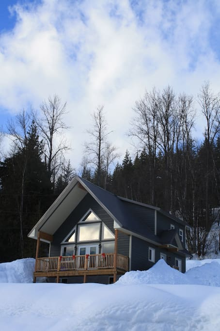 Stoke Cabin - Exterior View with Balcony and Hot Tub