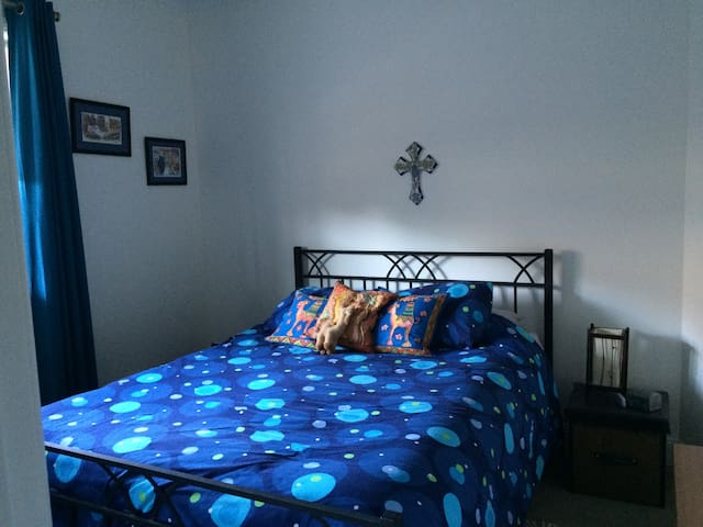 Blue bedroom with a Queen's bed