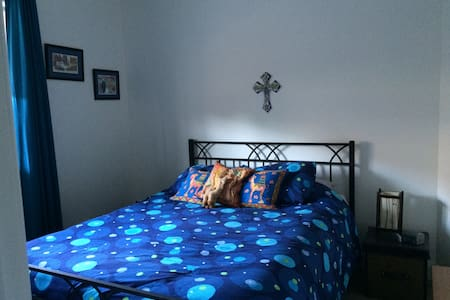Blue bedroom with a Queen's bed - Redcliffe - Bed & Breakfast