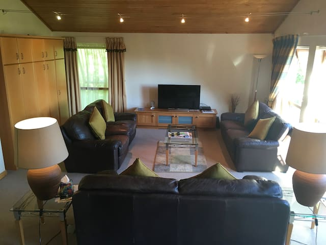 Lounge area with two five foot three person leather sofas and two large leather arm chairs and 48 inch flat screen TV/audio