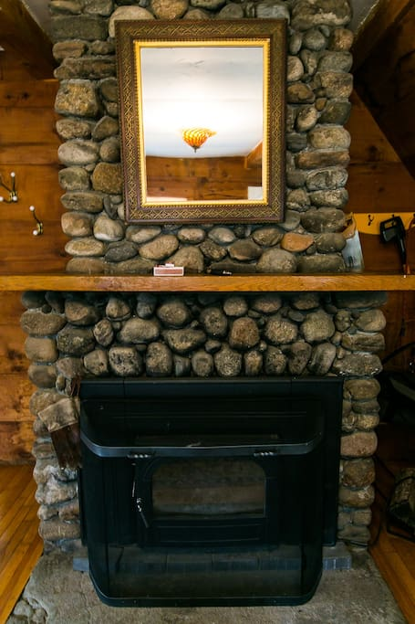 Riverstone Fireplace with glass/woodstove insert