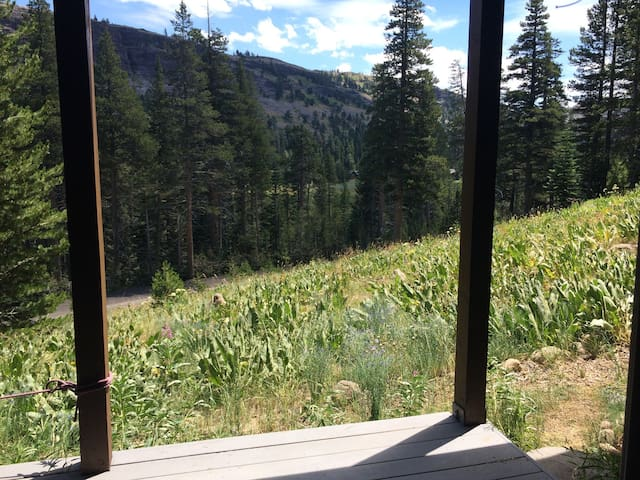 View from bedroom on Red Cliff and the meadow