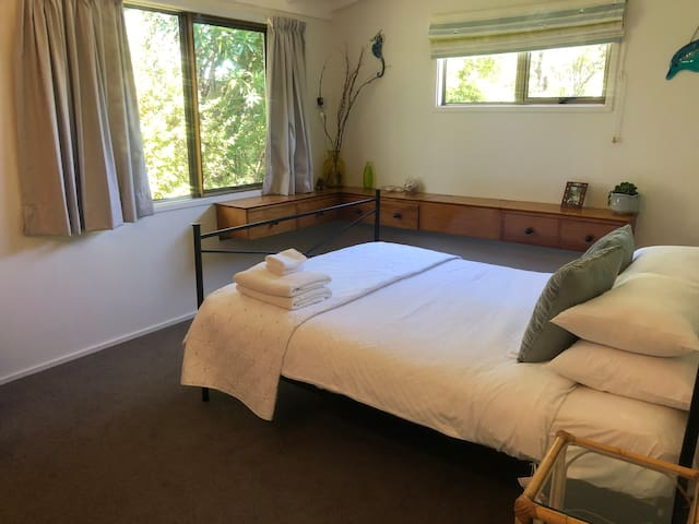 master bedroom - has its own wardrobe and room for a portacot (we have one available for use)