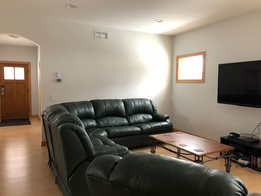 living room, this couch also pulls out to be a bed.