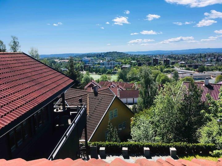 Hyggelig rom  med flott utsikt, Oslo/Holmenkollen