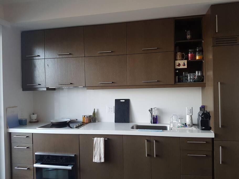 Stocked kitchen, Nespresso coffee machine