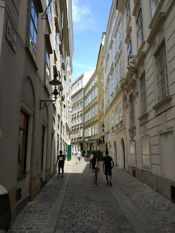 The charming little side-street Kurrentgasse, where the apartment is located