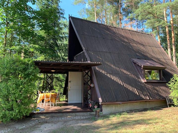 Kamińsko, Puszcza Zielonka, dom nad jeziorem.
