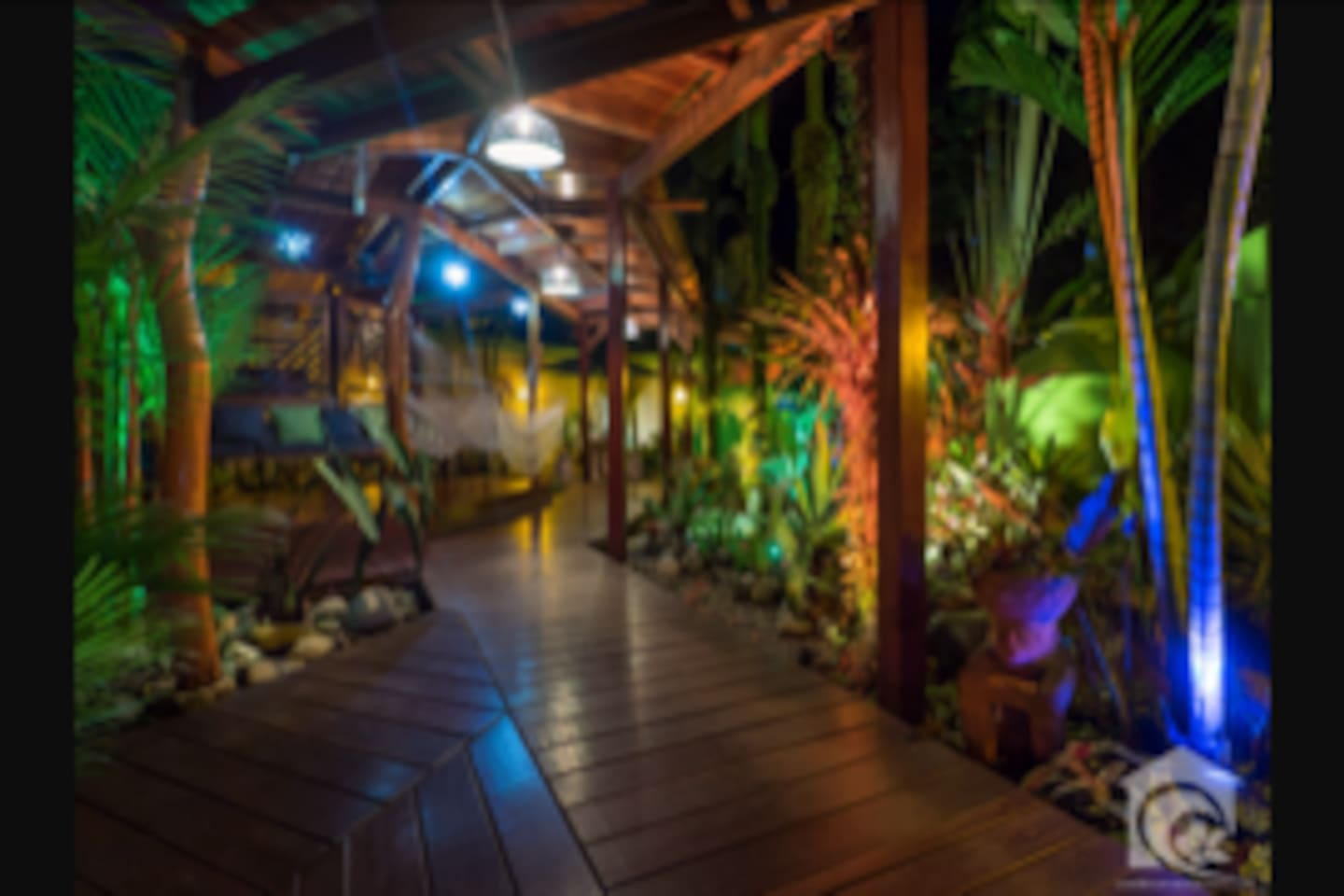 Our beautiful garden relaxation area at night