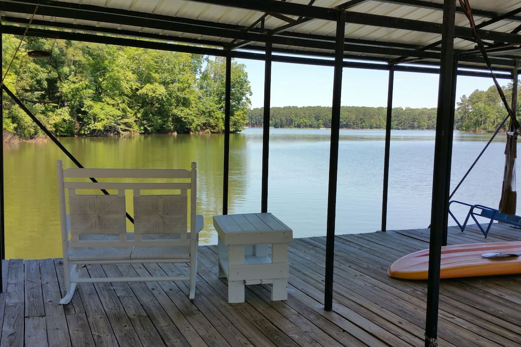 Double rocking chair and table on dock