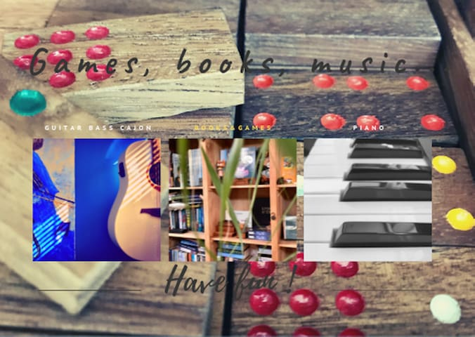 Music instruments, books, games