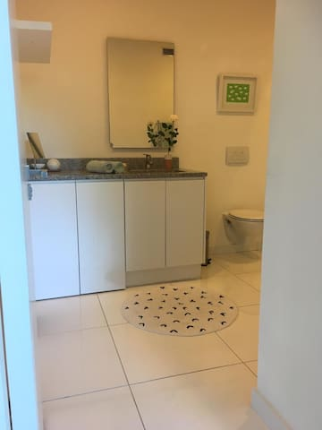 The bathroom has a large shower and bathroom cabinet, as well as a washing machine for clothing items.