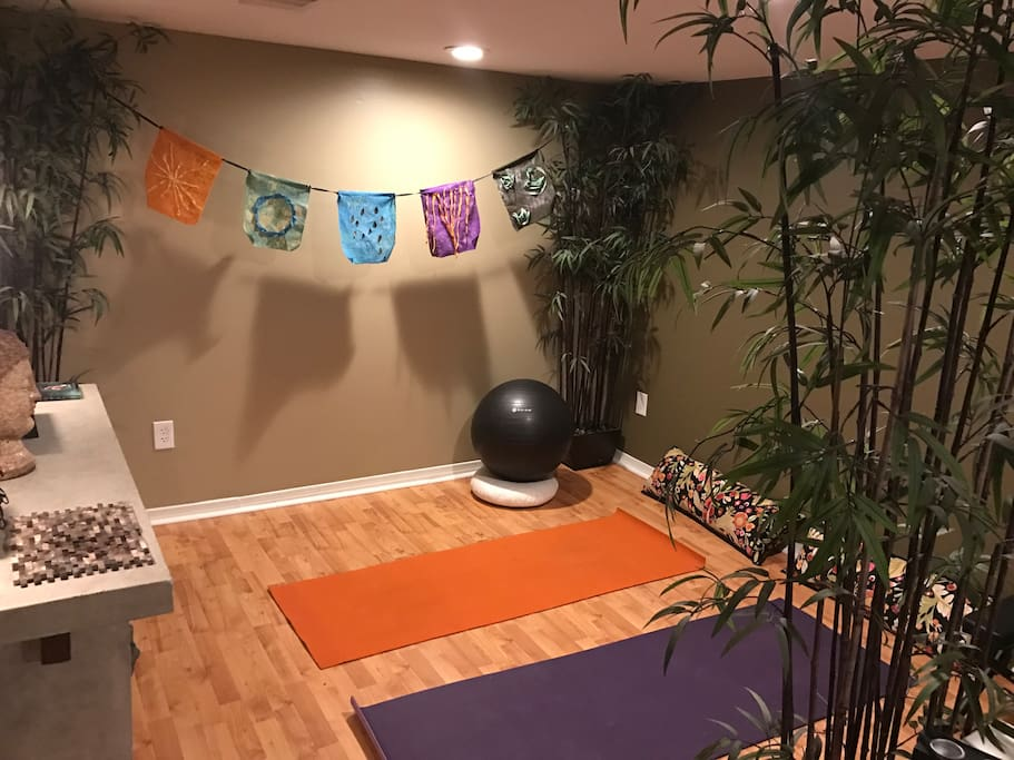 Yoga space to stretch before or after the day's events or a car ride.