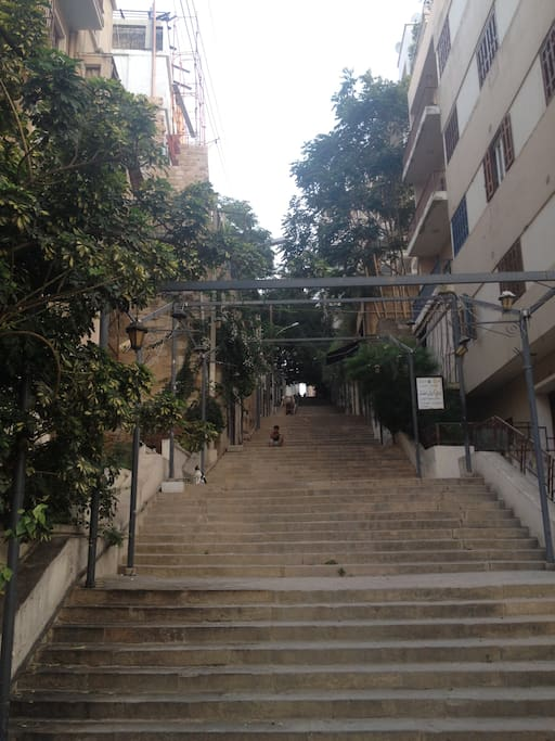 Old Cultural area in Beirut , calm and beautiful . Many exhibitions and cultural events take place on these stairs occasionally
