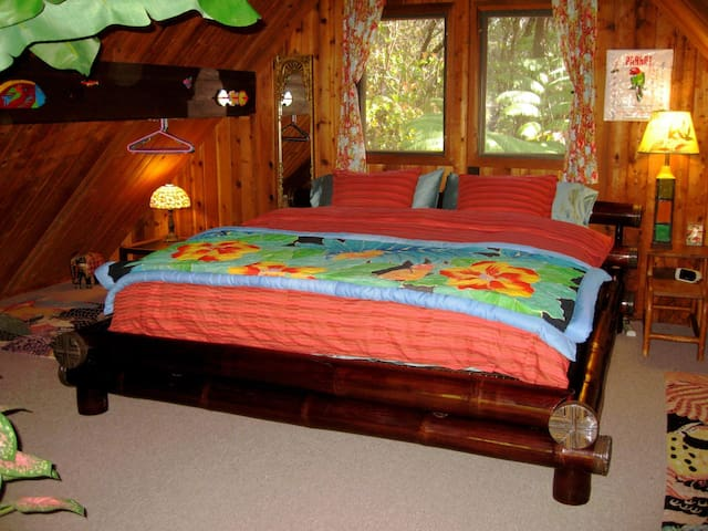 The loft bedroom has a king size elephant bamboo bed.