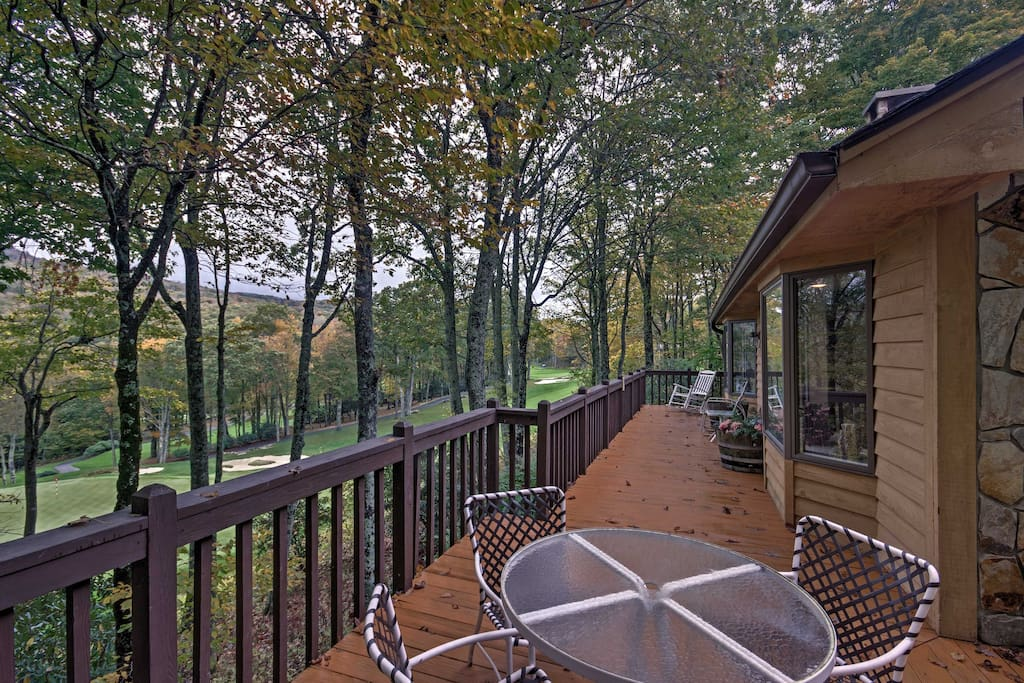 The spacious home overlooks the 8th hole of the Linville Ridge Country Club.