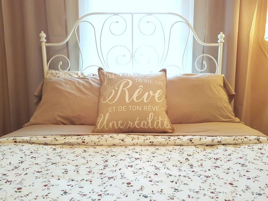 Draps toujours fraîchement lavés et lit confortable