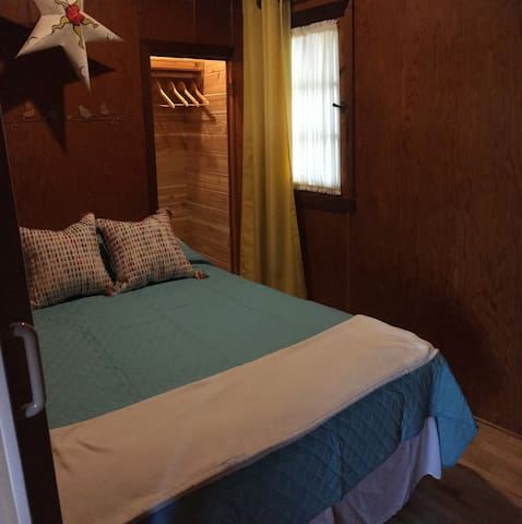 Second bedroom in main cottage is a cozy 7'x8', and has a double bed with new (2018) boxspring/mattress. All mattresses and pillows have hypoallergenic covers.