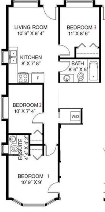 About 700 square feet. 3 bedrooms, 1 full bath, 1 ensuite half bath (sink and toilet only), insuite washer and dryer.