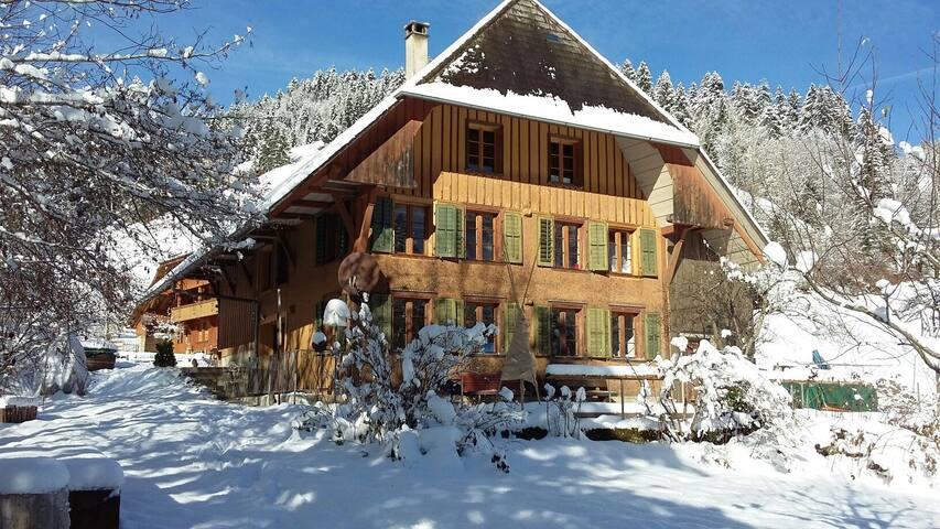 Unser Haus im Winter. Die gemütliche Ferienwohnung ist im Dachstock (inkl. Galerie)