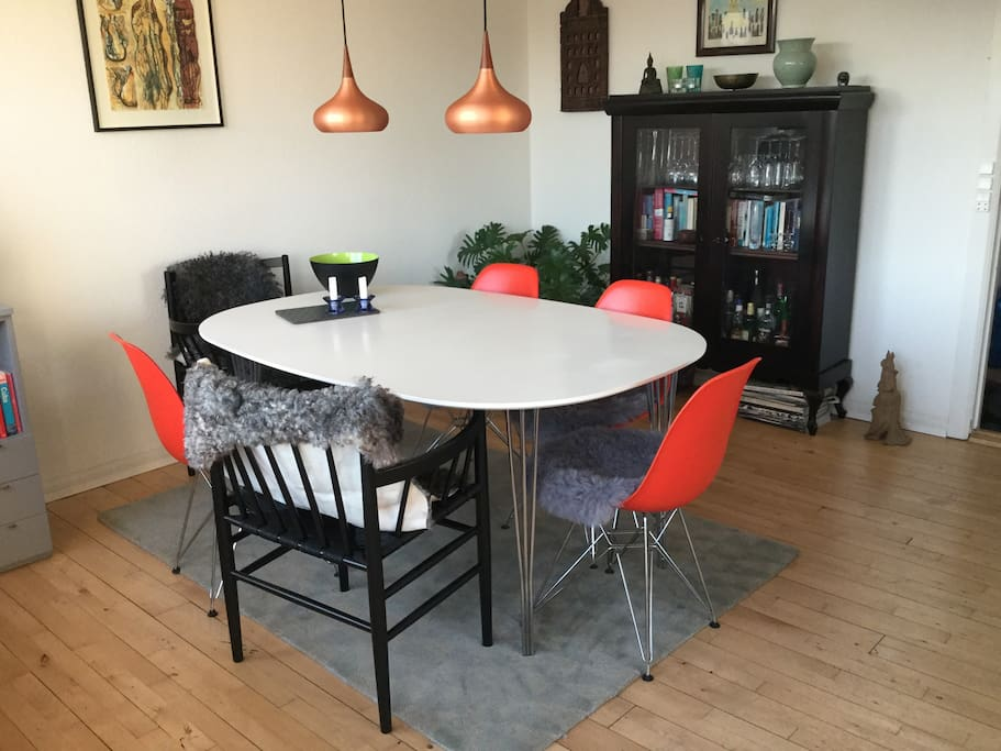 Dining table with new comfortable chairs