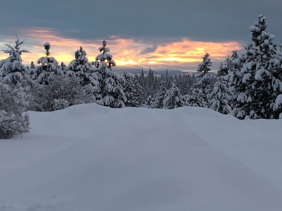Winter sunset from in front of the shop and studio apartment!