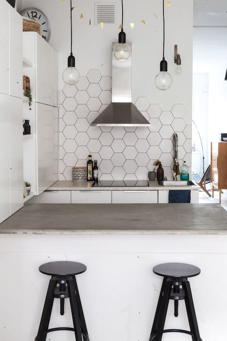 You can also enjoy your meal by the kitchen table. DIY concrete table.