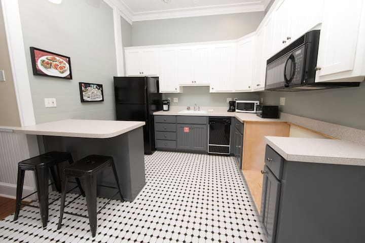 Great little kitchenette area includes a keurig coffee maker, microwave, toaster oven, dishwasher, and fridge.