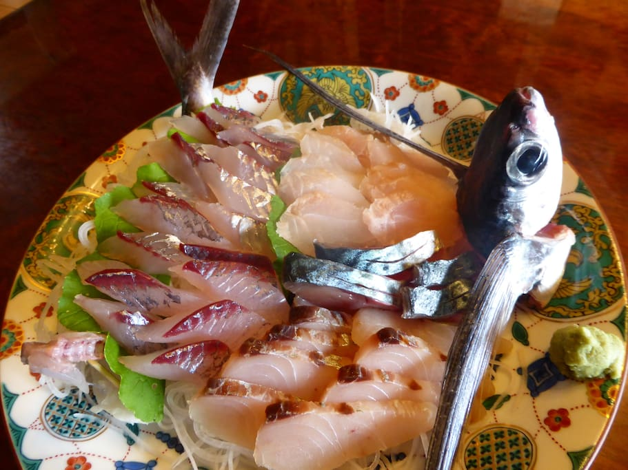 Self-caught fresh sashimi fish
