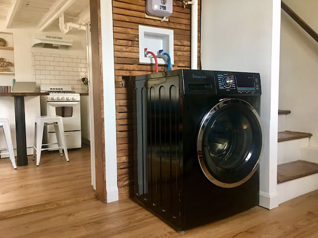 A washer/dryer combo. A must for small spaces.