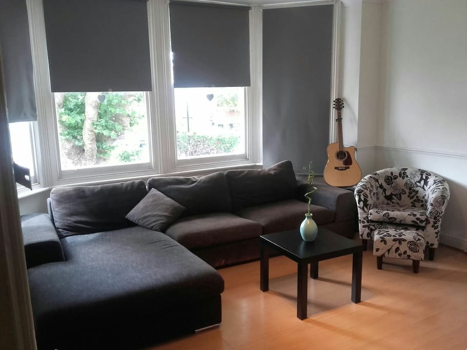 living room with large couch capable of sleeping 2