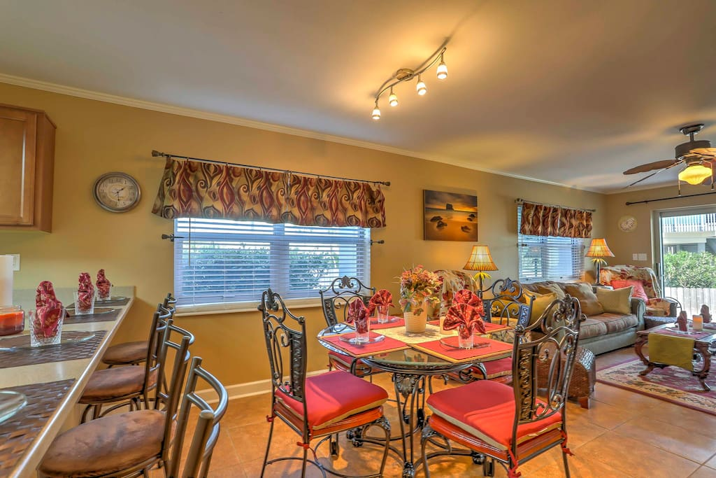 Enjoy a home cooked meal around the cozy dining table or at the breakfast bar.
